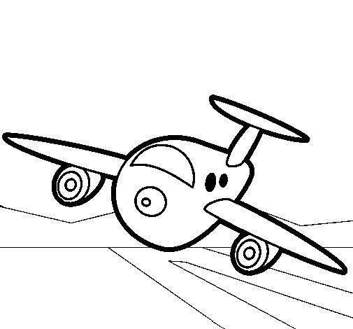 Dibujo de Avión aterrizando para Colorear - Dibujos.net