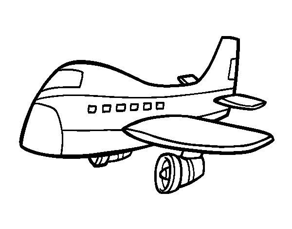 Dibujo de Avión comercial para Colorear - Dibujos.net