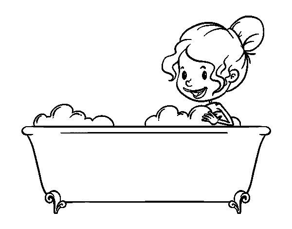 Baño De Tina Para Bajar La Fiebre:Dibujo de Baño para Colorear – Dibujosnet