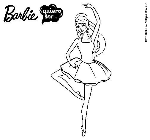 Dibujo de Barbie bailarina de ballet para Colorear