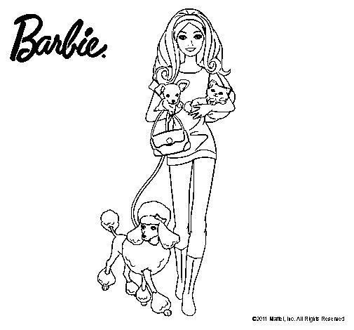 Dibujo de Barbie con sus mascotas para Colorear - Dibujos.net