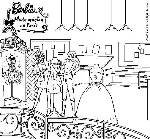 Dibujo de barbie en la tienda para colorear - Como iluminar un escaparate ...