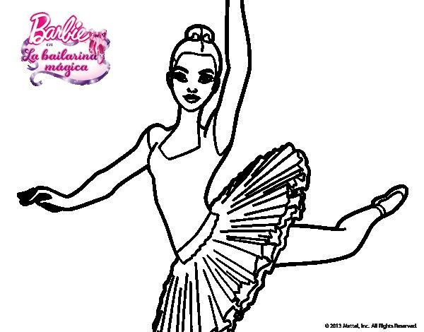 Dibujo de Barbie en segundo arabesque para Colorear