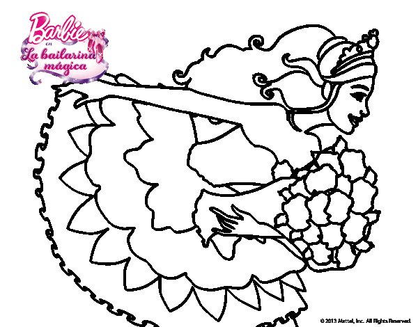 Dibujo de Barbie en un saludo de agradecimiento para Colorear