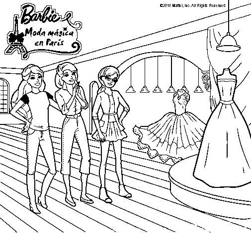 Dibujo de Barbie mirando vestidos para Colorear