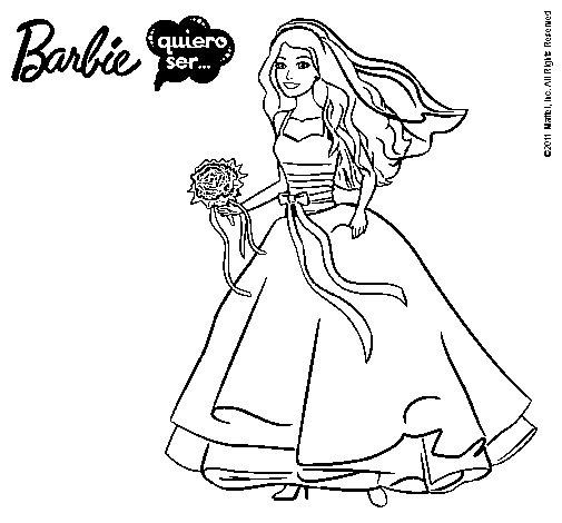 Dibujo de Barbie vestida de novia para Colorear - Dibujos.net