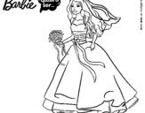 Dibujo de Barbie vestida de novia
