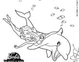 Dibujo de Barbie y delfín