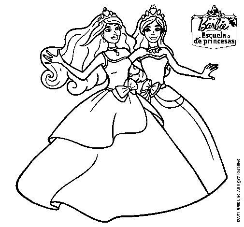 Dibujo de Barbie y su amiga súper felices para Colorear ...