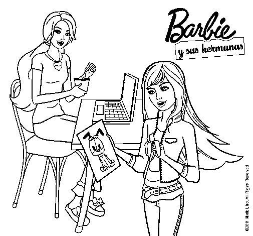 Dibujo de Barbie y su hermana merendando para Colorear ...