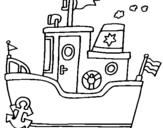 Dibujo de Barco con ancla para colorear