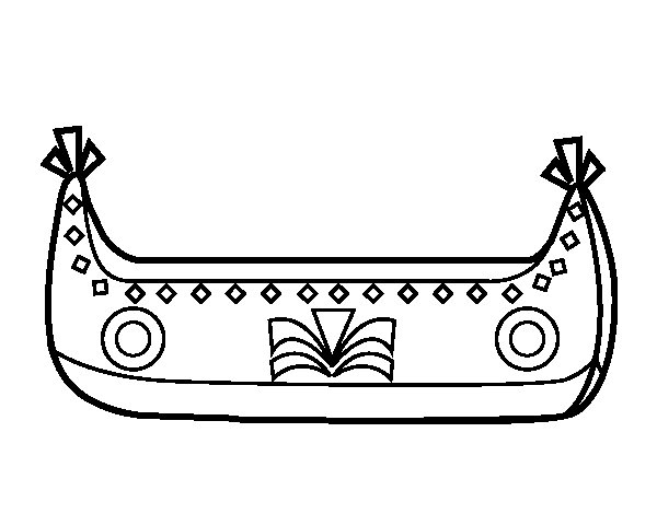 Dibujo de Barco de indios para Colorear
