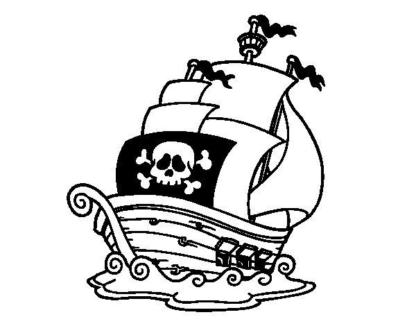 Dibujo de Barco de piratas para Colorear