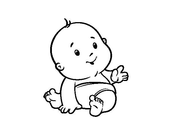 Dibujo de Bebé curioso para Colorear - Dibujos.net