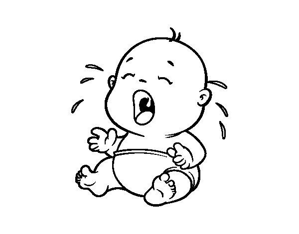 Dibujo de Bebé llorando 1 para Colorear - Dibujos.net