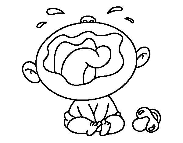 Dibujo de Bebé llorando para Colorear - Dibujos.net
