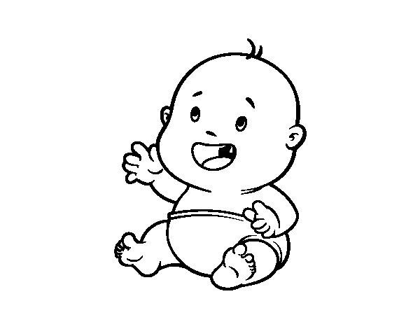 Dibujo de Bebé sonriendo para Colorear - Dibujos.net
