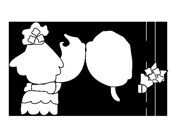 Dibujo de Beso de recién casados para Colorear