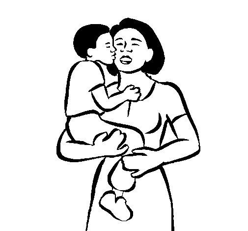 Dibujo de Beso maternal para Colorear