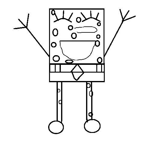 Dibujo de Bob Esponja feliz para Colorear