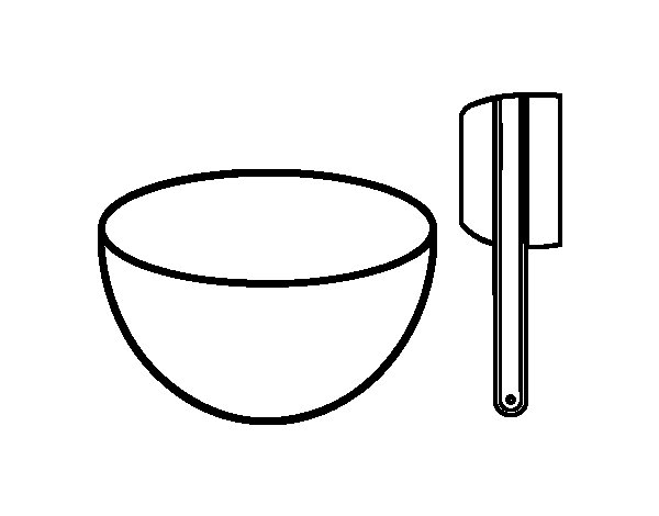 Dibujo de bol y paleta para hacer pasteles para colorear - Utensilios de cocina para pintar ...