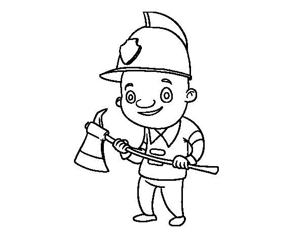 Dibujos Infantiles De Bomberos Coloreados: Dibujo De Bombero Profesional Para Colorear