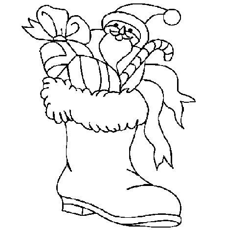 Dibujo de Bota para los regalos para Colorear