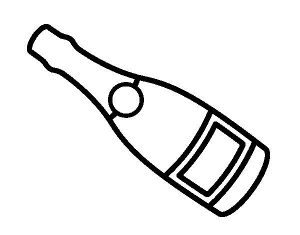 dibujo de botella de champagne para colorear