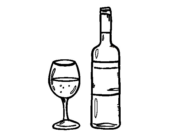 wine bottle coloring pages - dibujo de botella de vino y copa para colorear