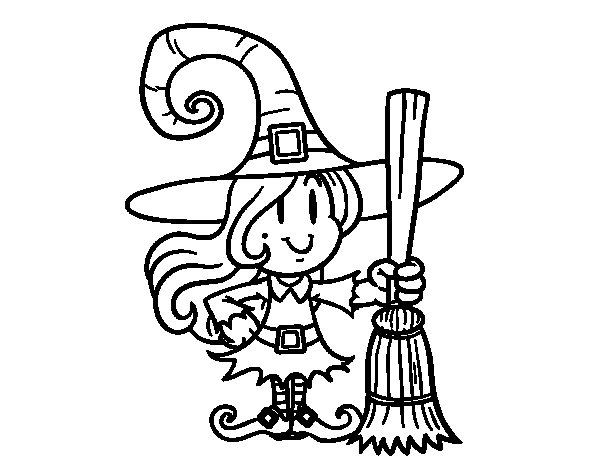 Dibujo de Bruja con escoba para Colorear