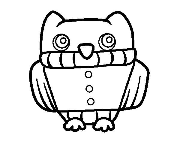 Dibujo de Búho con jersey para Colorear - Dibujos.net