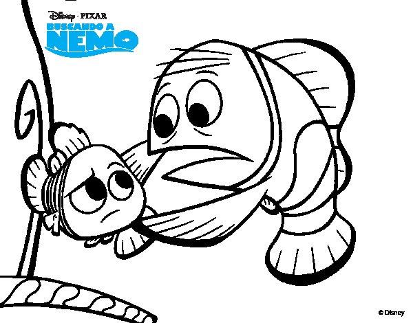 Dibujo de Buscando a Nemo - Nemo y Marlín para Colorear ...