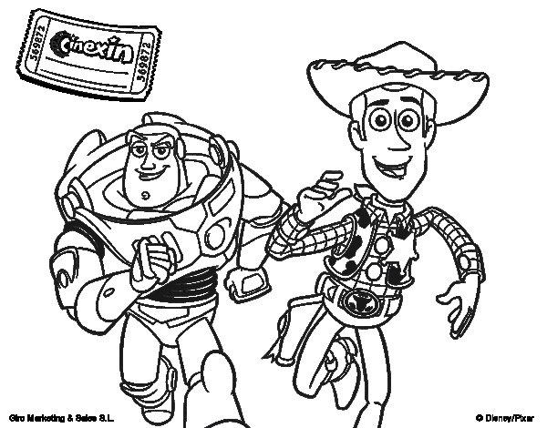 Dibujo de Buzz y Woody para Colorear