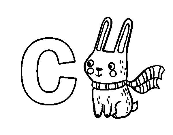 Dibujo de C de Conejo para Colorear