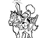 Dibujo de Caballero alzando la espada para colorear