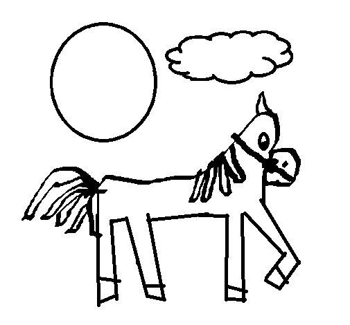 Dibujo de Caballo con la pata levantada 1 para Colorear ...