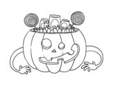 Dibujo de Calabaza de chuches de Halloween para colorear