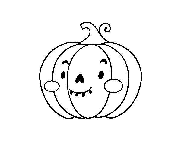 dibujo de calabaza de halloween simp tica para colorear
