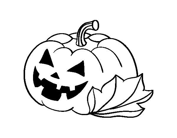 Dibujo de calabaza decorada de halloween para colorear - Calabaza halloween para colorear ...