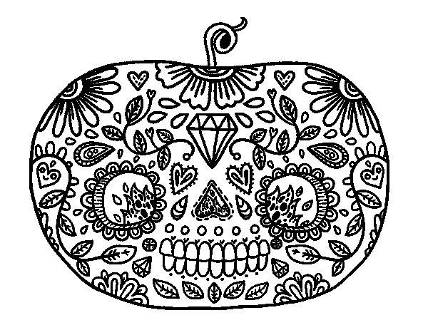 Dibujo de Calabaza del día de los muertos para Colorear ...