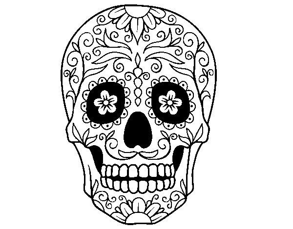 Dibujo de Calavera mejicana para Colorear - Dibujos.net