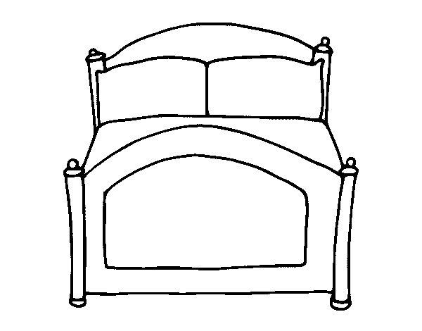 Dibujo de cama para colorear - Habitacion para colorear ...