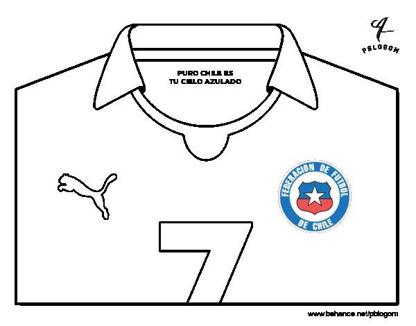 Dibujo De Chilena Para Colorear: Dibujo De Camiseta Del Mundial De Fútbol 2014 De Chile