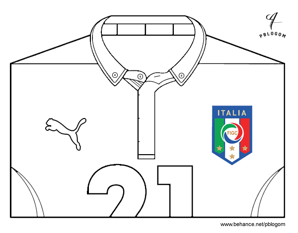 Dibujo de Camiseta del mundial de fútbol 2014 de Italia para ...