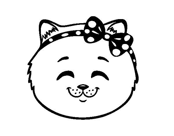 Dibujo de Cara de gatita feliz para Colorear