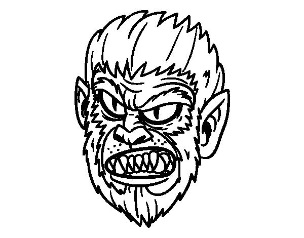 Dibujo de Cara de Hombre Lobo