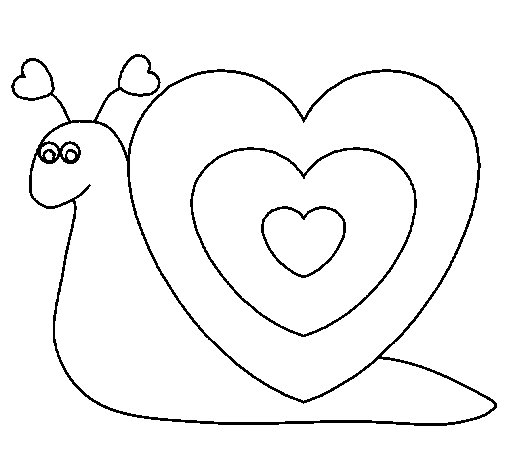 Dibujo de caracol coraz n para colorear - Dibujos para pintar camisetas infantiles ...