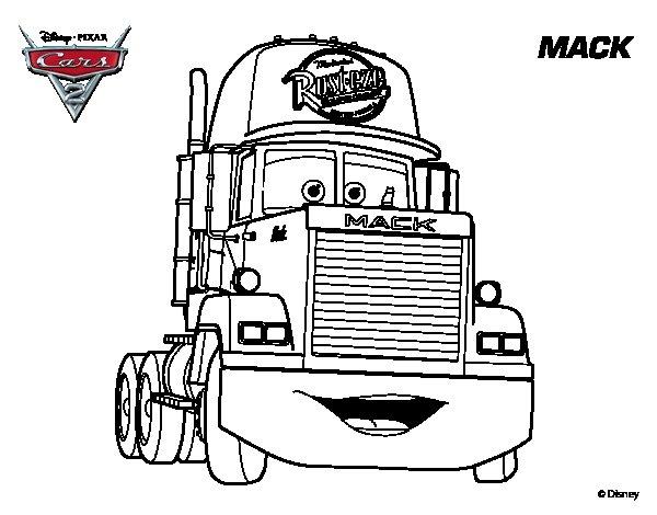 Dibujo de Cars 2 - Mack para Colorear - Dibujos.net