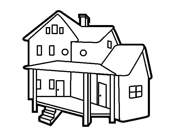 Dibujo de casa con porche para colorear - Fotos de casas para dibujar ...