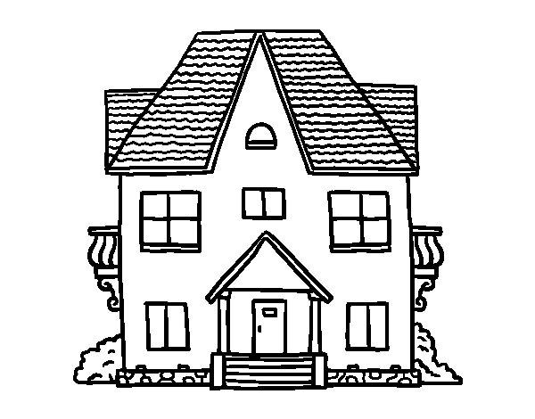 Dibujo de casa de campo con balcones para colorear - Colores actuales para pintar una casa ...